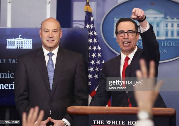 Secretary of the Treasury Steven Mnuchin and National Economic Director Gary Cohn speak about President Donald Trump's new tax reform plan during a...