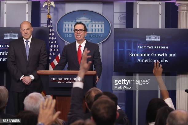 Secretary of the Treasury Steven Mnuchin and National Economic Director Gary Cohn speak about President Trump's new tax reform plan at the White...