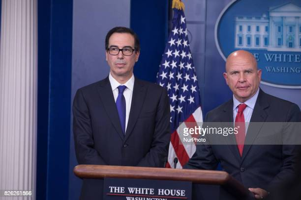 US Secretary of the Treasury Steven Mnuchin and US National Security Advisor H R McMaster delivered an oncamera press briefing in the James S Brady...
