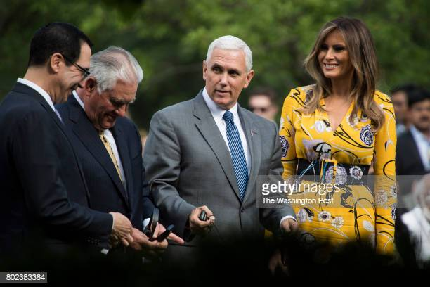 Secretary of the Treasury Steven Mnuchin Secretary of State Rex Tillerson Vice President Mike Pence and first lady Melania Trump arrive before...