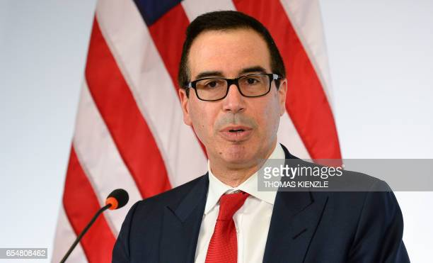 US Secretary of the Treasury Steven Mnuchin speaks during a press conference at the G20 Finance Ministers and Central Bank Governors Meeting in...
