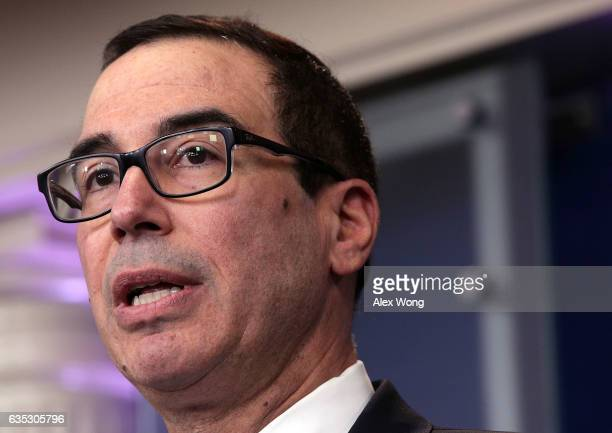 S Secretary of the Treasury Steven Mnuchin speaks during the White House daily press briefing at the James Brady Press Briefing Room February 14 2017...