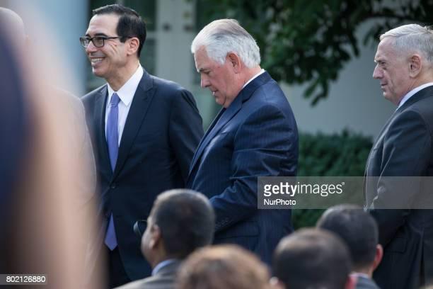 US Secretary of the Treasury Steven Mnuchin US Secretary of State Rex Tillerson and US Secretary of Defense James Mattis were present for President...