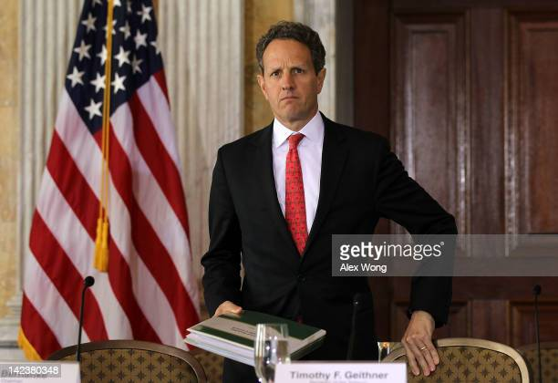 S Secretary of the Treasury Timothy Geithner arrives for an open session meeting of the Financial Stability Oversight Council April 3 2012 at the...