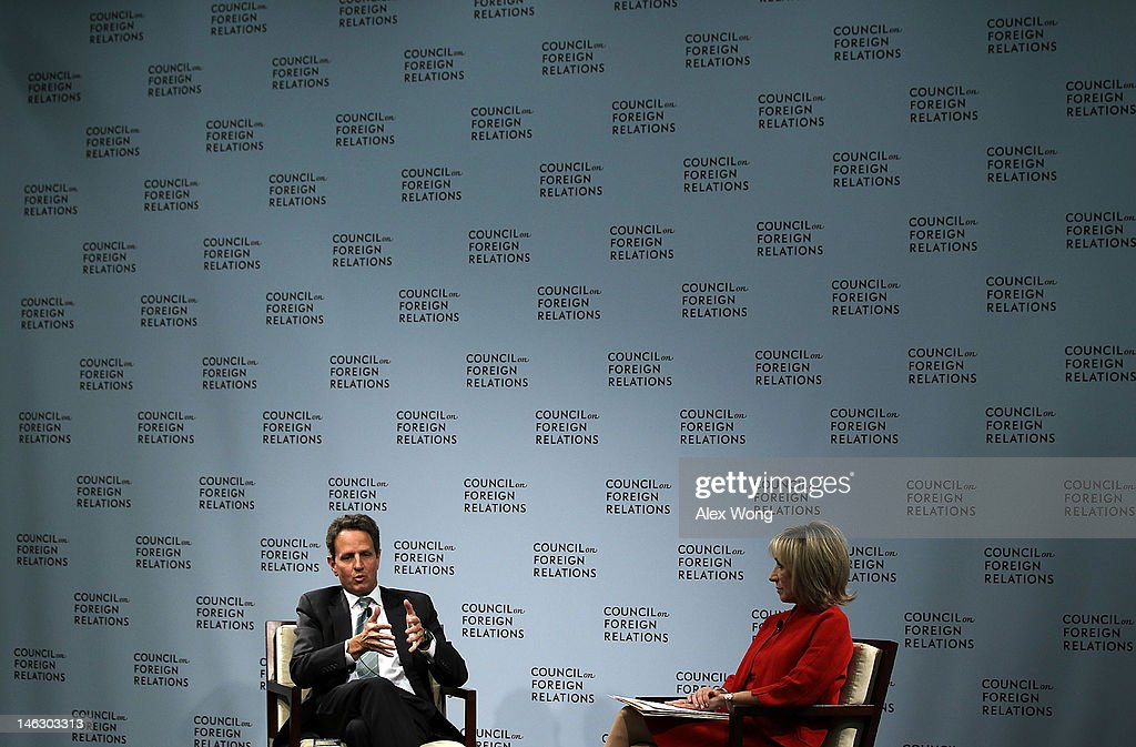 U.S. Secretary of the Treasury Timothy Geithner (L) speaks as NBC News Chief Foreign Affairs Correspondent Andrea Mitchell (R) looks on during a discussion in advance of the G-20 Summit June 13, 2012 at the Council of Foreign Relations in Washington, DC. Geithner spoke on the state of the global economy and the U.S. recovery.