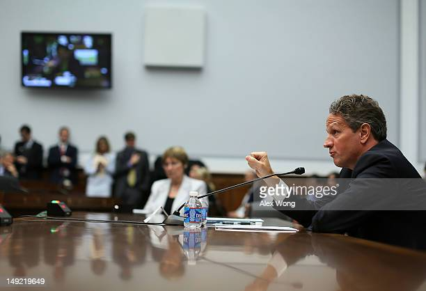 S Secretary of the Treasury Timothy Geithner testifies during a hearing on ''The Annual Report of the Financial Stability Oversight Council'' before...