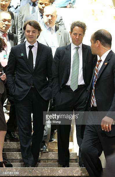S Secretary of the Treasury Timothy Geithner walks with French Finance Minister François Baroin prior to the family photo of G20 Finance Ministers...