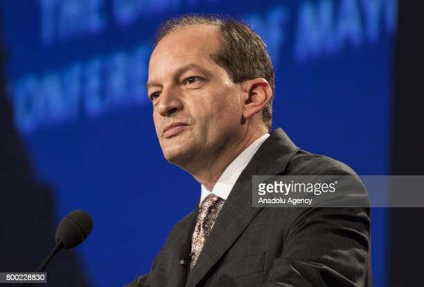 Secretary of the United States Department of Labor Rene Alexander Acosta gives the keynote address at the Mayors Luncheon in the ballroom of the...