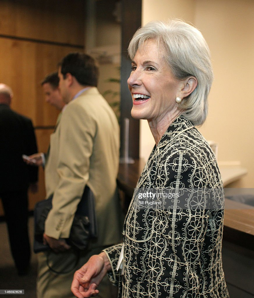 Secretary of the U.S. Department of Health and Human Services <a gi-track='captionPersonalityLinkClicked' href=/galleries/search?phrase=Kathleen+Sebelius&family=editorial&specificpeople=700528 ng-click='$event.stopPropagation()'>Kathleen Sebelius</a> makes her way to a media scrum after speaking about President Barack Obama's Affordable Care Act at Covenant Community Care health center June 20, 2012 in Detroit, Michigan. Sebelius announced that $129 million in additional grants from the act will be used to bring primary care to cities around the nation. The U.S. Supreme Court is expected to rule this month on the constitutionality of the Affordable Care Act.
