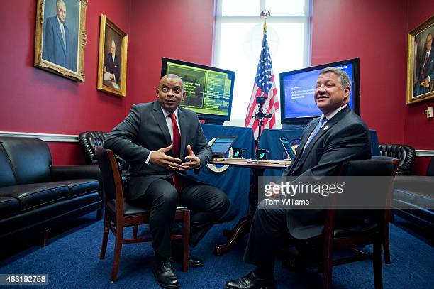 Secretary of Transportation Anthony Foxx left and Chairman of the House Transportation and Infrastructure Committee Bill Shuster RPa prepare to...