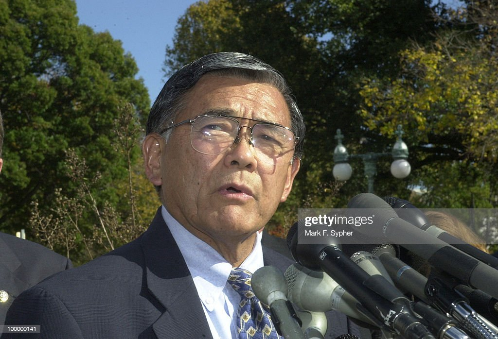 Secretary of Transportation, Norman Mineta, speaking at the House Triangle on Thuraday.