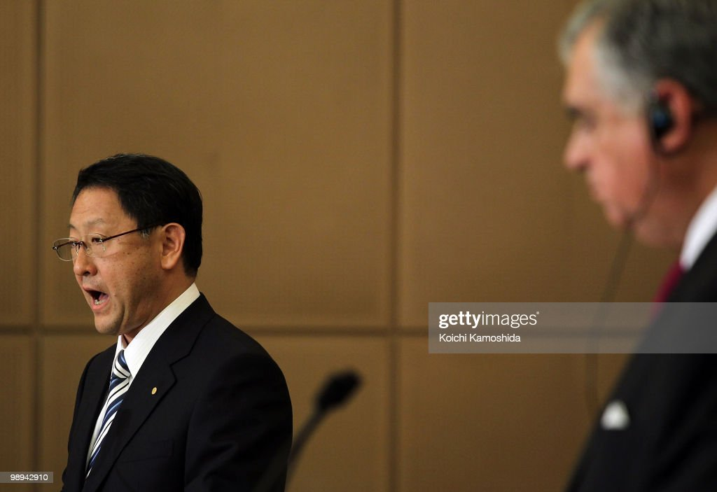 U.S. Secretary of Transportation Ray LaHood (R) and Toyota Motor Corporation (TMC) President Akio Toyoda (L) attend the joint press conference at TMC's headquarters on May 10, 2010 in Toyota, Japan.