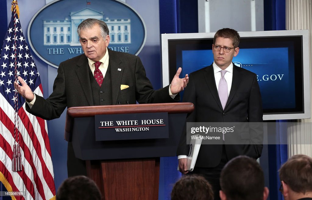 U.S. Secretary of Transportation <a gi-track='captionPersonalityLinkClicked' href=/galleries/search?phrase=Ray+LaHood&family=editorial&specificpeople=598728 ng-click='$event.stopPropagation()'>Ray LaHood</a> (L) answers questions during a briefing as the White House with Press Secretary Jay Carney looks onFebruary 22, 2013 in Washington, DC. LaHood said during the briefing that more than 100 air traffic control towers would be closed if budget cuts implemented due to sequestration happen.