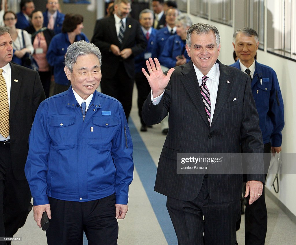 U.S. Secretary of Transportation <a gi-track='captionPersonalityLinkClicked' href=/galleries/search?phrase=Ray+LaHood&family=editorial&specificpeople=598728 ng-click='$event.stopPropagation()'>Ray LaHood</a> (R) attends the test ride of a magnetically levitated (Maglev) train developed by Central Japan Railways Co (JR Central) at JR Central Yamanashi Maglev Test Line on May 11, 2010 in Tsuru, Japan. United States plans to build Maglev lines between major cities. Supporters of plans to develop Maglev lines between major cities in the United States are lobbying LaHood to continue investment and to push ahead with further phases of development. Working on a principle of magnetic levitation, Maglev trains hover above the tracks and have reached a speed of 581 kilometres an hour during tests.