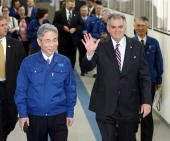 S Secretary of Transportation Ray LaHood attends the test ride of a magnetically levitated train developed by Central Japan Railways Co at JR Central...
