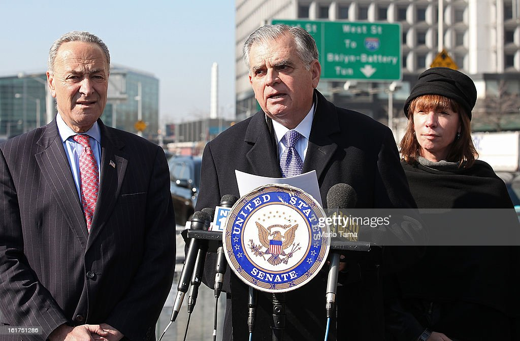 U.S. Secretary of Transportation <a gi-track='captionPersonalityLinkClicked' href=/galleries/search?phrase=Ray+LaHood&family=editorial&specificpeople=598728 ng-click='$event.stopPropagation()'>Ray LaHood</a> (C) speaks as U.S. Sen. <a gi-track='captionPersonalityLinkClicked' href=/galleries/search?phrase=Charles+Schumer&family=editorial&specificpeople=171249 ng-click='$event.stopPropagation()'>Charles Schumer</a> (L), D-NY, and New York City Transportation Commissioner Janette Sadik-Khan stand by on February 15, 2013 in New York City. LaHood announced that New York state will receive $250 million in fast track funding to repair road infrastrcture damaged by Hurricane Sandy.