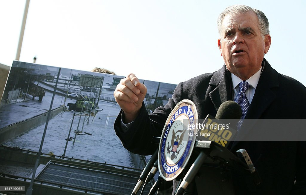U.S. Secretary of Transportation <a gi-track='captionPersonalityLinkClicked' href=/galleries/search?phrase=Ray+LaHood&family=editorial&specificpeople=598728 ng-click='$event.stopPropagation()'>Ray LaHood</a> speaks next to a photo of Hurricane Sandy flooding on February 15, 2013 in New York City. LaHood announced that New York state will receive $250 million in fast track funding to repair road infrastrcture damaged by Hurricane Sandy.