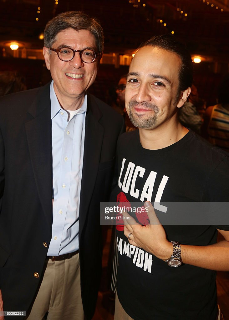 US Secretary of Treasury Jack Lew and Lin-Manuel Miranda (who plays 'Alexander Hamilton' who was the US 1st Secratary of Treasury) pose backstage at the hit musical 'Hamilton' on Broadway at The Richard Rogers Theater on August 26, 2015 in New York City.
