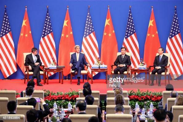 US Secretary of Treasury Jack Lew US Secretary of State John Kerry Chinese Vice Premier Wang Yang and State Councillor Yang Jiechi attend the opening...