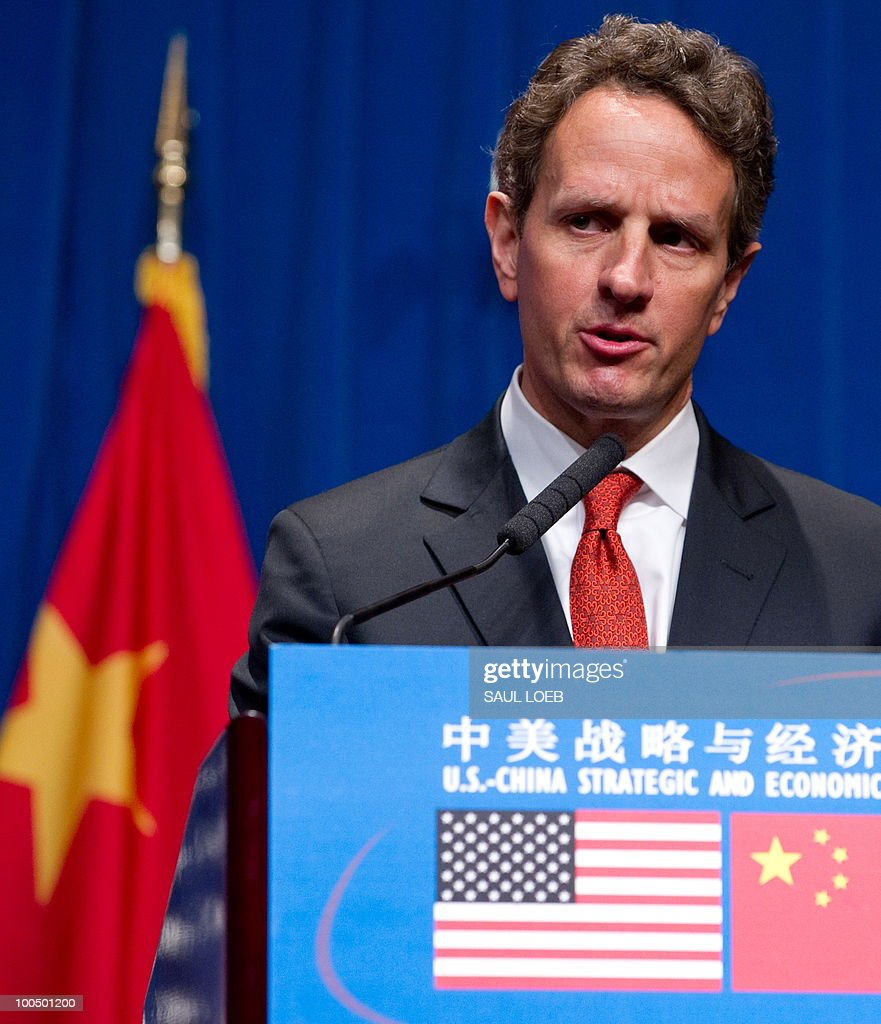 US Secretary of Treasury Timothy Geithner speaks during a press conference following the conclusion of the Second Round of the US-China Strategic & Economic Dialogue in Beijing, May 25, 2010. US Secretary of State Hillary Clinton said two days of high-level Sino-US talks had been 'very productive' but admitted differences remained, especially on economic and trade issues. AFP PHOTO / POOL / Saul LOEB