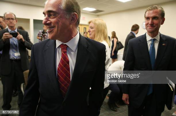 Secretary of Veterans Affairs David Shulkin departs a press conference at the VA Medical Center in Manchester NH on Aug 4 2017 Hours after arriving...