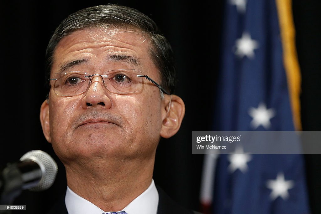 S Secretary of Veterans Affairs Eric Shinseki addresses the National Coalition for Homeless Veterans May 30 2014 in Washington DC Shinseki is under...