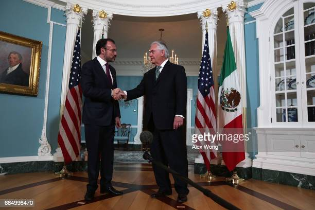 S Secretary Rex Tillerson welcomes Mexican Foreign Affairs Secretary Luis Videgaray at the State Department April 5 2017 in Washington DC Secretary...