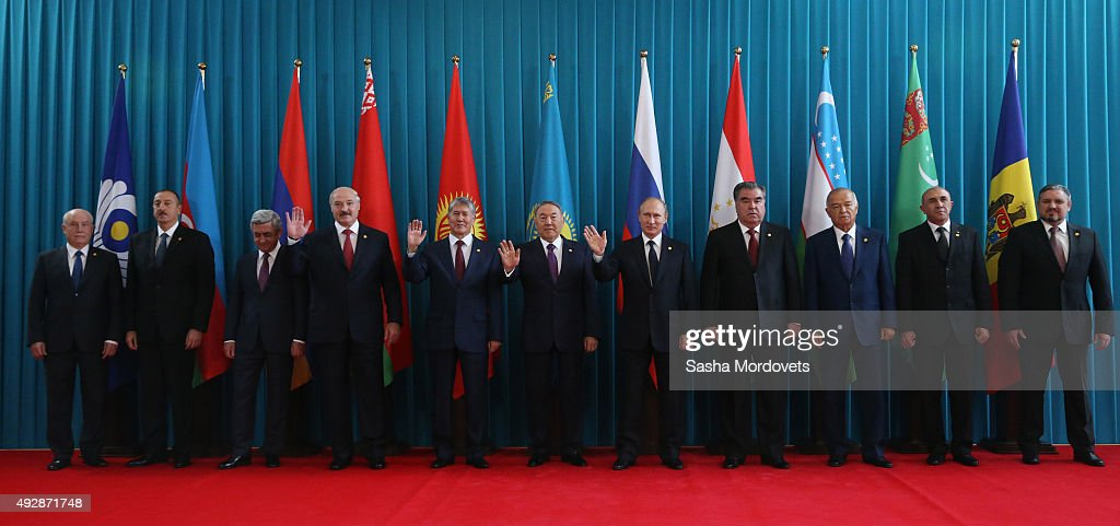 CIS Secretary Sergei Lebedev, Azeri President Ilham Aliyev, Armenian President Serge Sargsyan, Belarussian President Alexander Lukashenko, Kyrgyz President Almazbek Atambayev, Kazakh President Nursultan Nazarbayev, Russian President Vladimir Putin, Tajik President Emomali Rakhmon, Uzbek President Islam Karimov, Turkmenstan's Deputy Prime Minister for Transport and Communication Satlyk Satlykov and Moldovan Deputy Foreign Minister Andrei Galbur pose for a group photo during the CIS (Commonwealth of the Independent States) at Summit Burabay on October 16, 2015 in Kazakhstan. Leaders of 10 post-Soviet states have gathered at the Rixos Borovoe Hotel on the shores of Lake Schuchye in Burabay in Northern Kazakhstan.