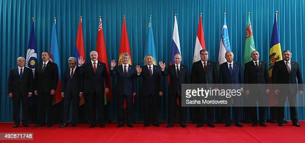 CIS Secretary Sergei Lebedev Azeri President Ilham Aliyev Armenian President Serge Sargsyan Belarussian President Alexander Lukashenko Kyrgyz...