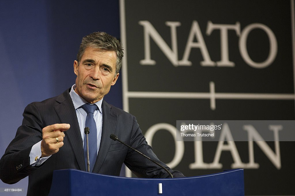 Secretary-General <a gi-track='captionPersonalityLinkClicked' href=/galleries/search?phrase=Anders+Fogh+Rasmussen&family=editorial&specificpeople=549374 ng-click='$event.stopPropagation()'>Anders Fogh Rasmussen</a> speaks to the media during a NATO Foreign Affairs ministers meeting at the NATO Headquarters in Brussels on June 25, 2014 in Brussels, Belgium.
