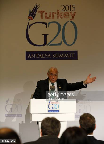 OECD SecretaryGeneral Angel Gurria gives on November 14 2015 at G20 Summit Antalya a statement regarding last night's terrorist attacks in Paris