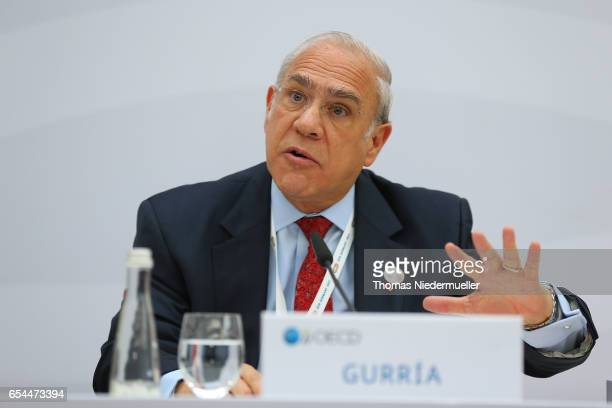 SecretaryGeneral Angel Gurria speaks during the 'Going for Growth' report presentation during the G20 finance minister's meeting on March 17 2017 in...