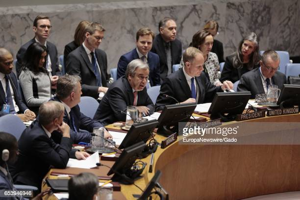 SecretaryGeneral Antonio Guterres addresses the United Nations Security Council open debate on 'Trafficking in persons in conflict situations forced...