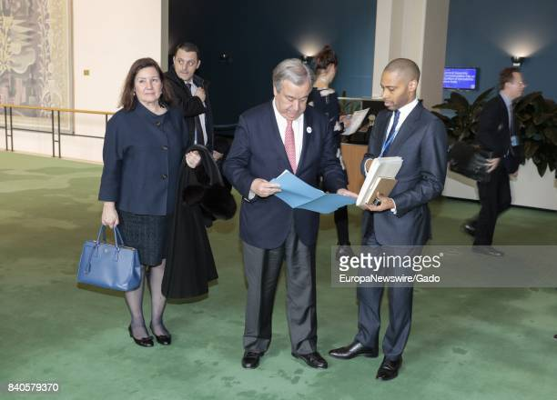 UN SecretaryGeneral Antonio Guterres center with Maria Luiza Viotti before the General Assembly meeting on the International Day of Remembrance of...