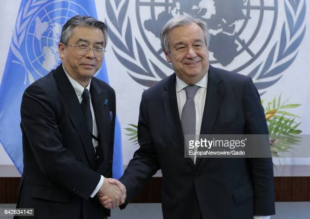 SecretaryGeneral Antonio Guterres meets with Shinsuke Sugiyama Deputy Minister for Foreign Affairs of Japan at the United Nations Headquarters in New...