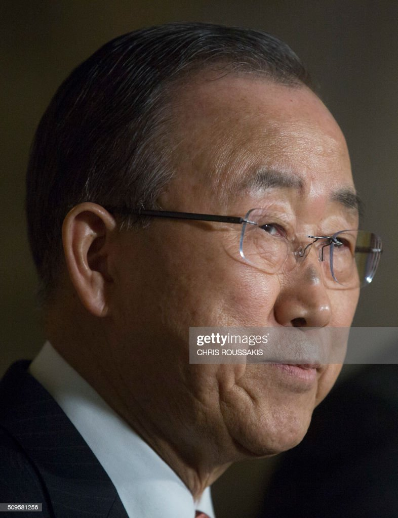 UN Secretary-General Ban Ki Moon participates in a press conference on Parliament Hill in Ottawa, Ontario on February 11, 2016. Ban was joined by Canadian Prime Minister Justin Trudeau. / AFP / (Chris Roussakis/AFP) / Chris Roussakis