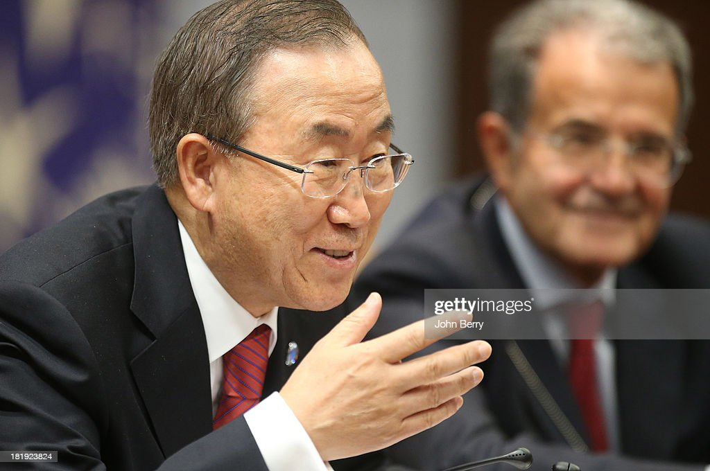 U.N. Secretary-General Ban Ki-moon and his Special Envoy to Sahel, <a gi-track='captionPersonalityLinkClicked' href=/galleries/search?phrase=Romano+Prodi&family=editorial&specificpeople=203301 ng-click='$event.stopPropagation()'>Romano Prodi</a> attend the 68th session of the United Nations General Assembly on September 25, 2013 in New York City.