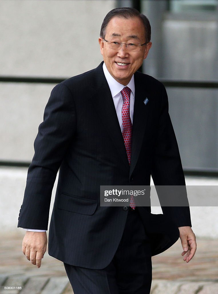 UN Secretary-General Ban Ki-moon arrives at the 'Supporting Syria Conference' at The Queen Elizabeth II Conference Centre on February 4, 2016 in London, England. World leaders including British Prime Minister David Cameron and German Chancellor Angela Merkel will gather for the 4th annual donor conference in an attempt to raise £6.2bn GBP to those affected by the war in Syria.