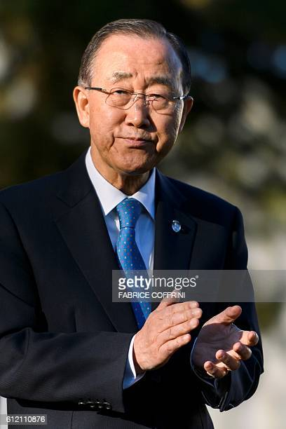 UN SecretaryGeneral Ban Kimoon attends a tree planting ceremony on October 3 2016 in the Ariana Park at the UN Offices in Geneva The secondgeneration...