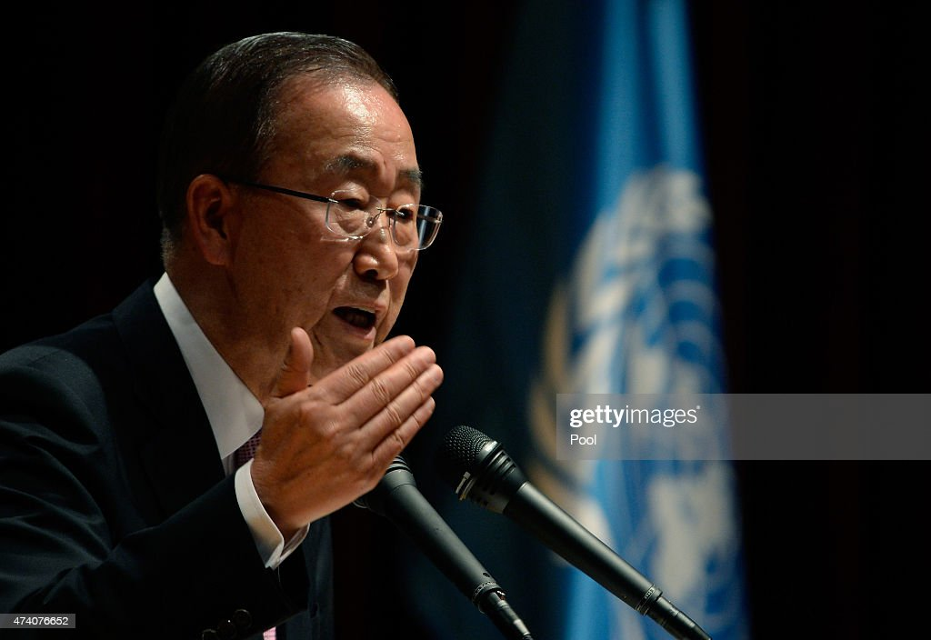 U.N. Secretary-General <a gi-track='captionPersonalityLinkClicked' href=/galleries/search?phrase=Ban+Ki-Moon&family=editorial&specificpeople=206144 ng-click='$event.stopPropagation()'>Ban Ki-Moon</a> attends the ceremony to commemorate the 70th anniversary of the United Nations at the Foreign Ministry on May 20, 2015 in Seoul, South Korea. North Korea have withdrawn an invitation allowing U.N. cheif <a gi-track='captionPersonalityLinkClicked' href=/galleries/search?phrase=Ban+Ki-Moon&family=editorial&specificpeople=206144 ng-click='$event.stopPropagation()'>Ban Ki-Moon</a> to visit the joint Kaesong industrial zone located inside the isolated state.