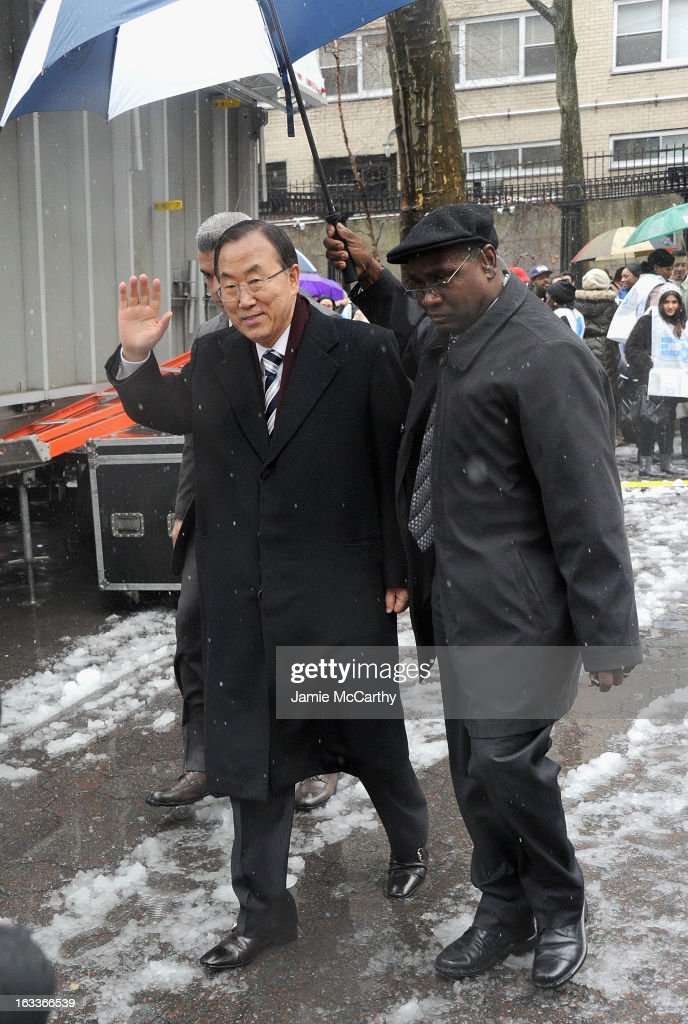 U.N. Secretary-General Ban Ki-moon attends the March On March 8 at United Nations on March 8, 2013 in New York City.