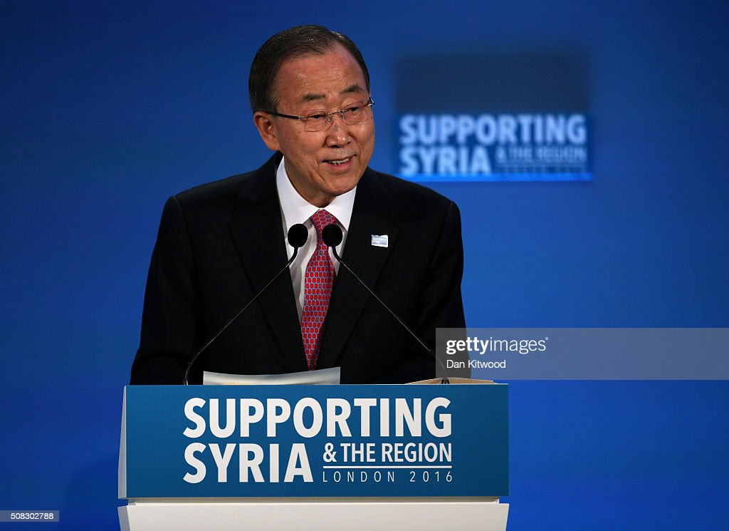 UN Secretary-General <a gi-track='captionPersonalityLinkClicked' href=/galleries/search?phrase=Ban+Ki-moon&family=editorial&specificpeople=206144 ng-click='$event.stopPropagation()'>Ban Ki-moon</a> attends the 'Supporting Syria Conference' at The Queen Elizabeth II Conference Centre on February 4, 2016 in London, England. World leaders including British Prime Minister David Cameron and German Chancellor Angela Merkel will gather for the 4th annual donor conference in an attempt to raise £6.2bn GBP to those affected by the war in Syria.