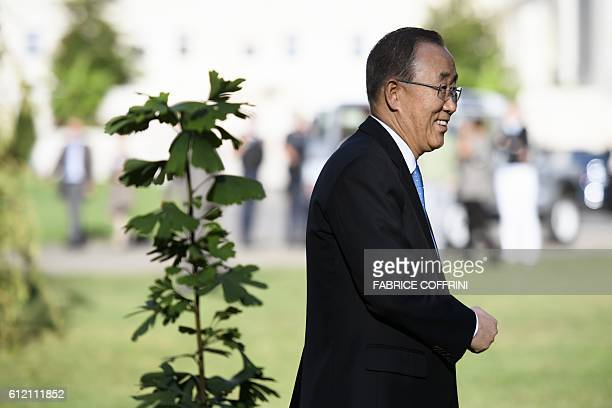 UN SecretaryGeneral Ban Kimoon leaves a tree planting ceremony on October 3 2016 in the Ariana Park at the UN Offices in Geneva The secondgeneration...