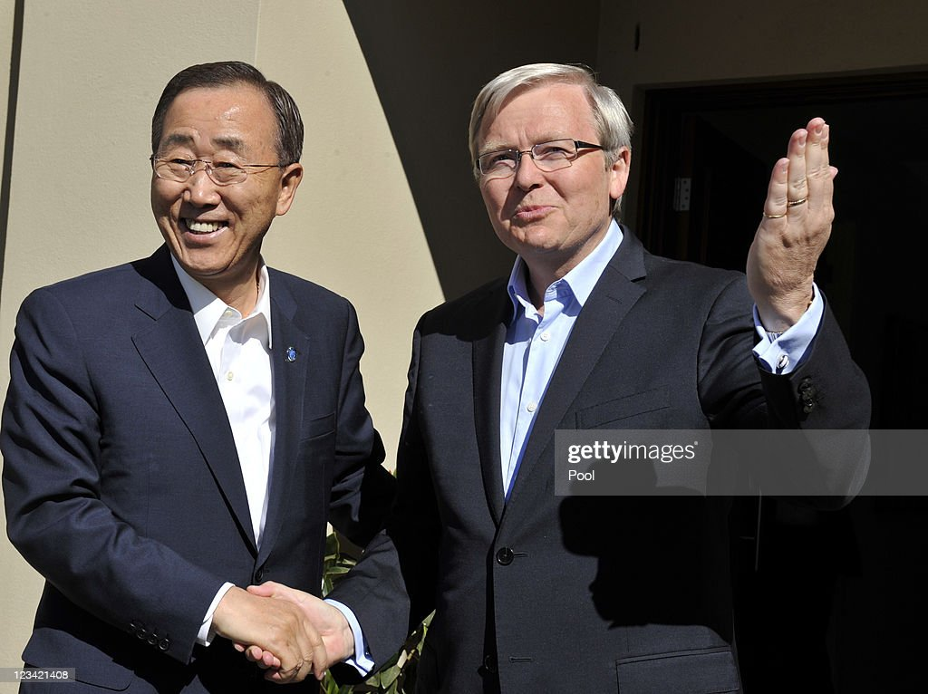 SecretaryGeneral Ban KiMoon meets Australian Foreign Minister Kevin Rudd at his home on September 3 2011 in Canberra Australia The first visit by a...