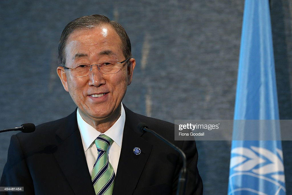 UN Secretary-General <a gi-track='captionPersonalityLinkClicked' href=/galleries/search?phrase=Ban+Ki-Moon&family=editorial&specificpeople=206144 ng-click='$event.stopPropagation()'>Ban Ki-Moon</a> speaks at a news conference at Novotel Auckland Airport on September 2, 2014 in Auckland, New Zealand. Ban Ki-moon is visiting Auckland, where he will receive an Honorary Doctorate of Law from the University of Auckland.