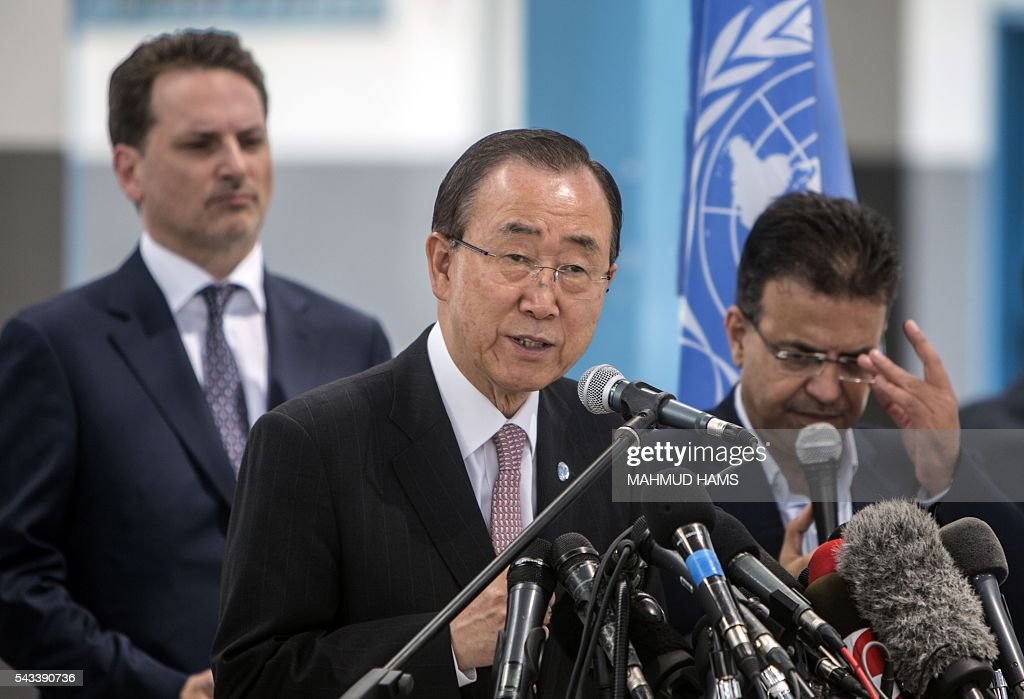 UN Secretary-General Ban Ki-moon speaks during a press conference at a United Nations school in Gaza City on June 28, 2016. UN chief Ban Ki-moon the previous day urged Israelis and Palestinians not to allow extremists on either side to fan violence, as he arrived as part of a Middle East tour. HAMS