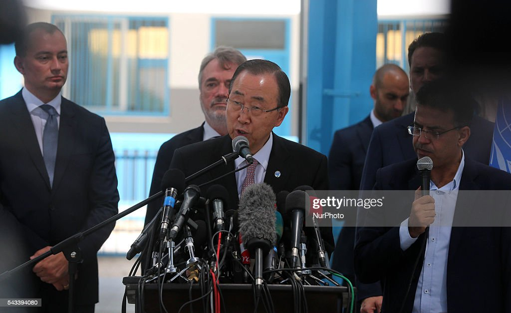 UN Secretary-General Ban Ki-moon speaks during a press conference at a United Nations school in Gaza City on June 28, 2016. UN chief Ban Ki-moon the previous day urged Israelis and Palestinians not to allow extremists on either side to fan violence, as he arrived as part of a Middle East tour.