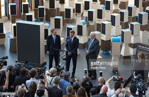 SecretaryGeneral Ban Kimoon with Anthony Lake UNICEF Executive Director and David Beckham Goodwill Ambassador for the UN Childrens Fund at a UNICEF...