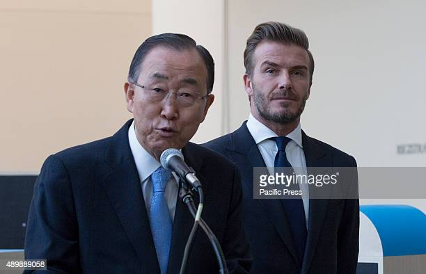 SecretaryGeneral Ban Kimoon with David Beckham Goodwill Ambassador for the UN Childrens Fund at a UNICEF event entitled Giving Youth a Voice today at...