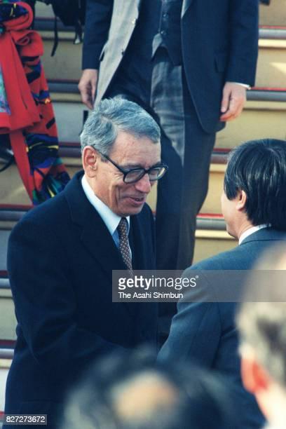 UN SecretaryGeneral Boutros BoutrosGhali is seen on arrival at Narita International Airport on February 15 1993 in Narita Chiba Japan